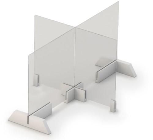 Covid preventiescherm glas 80x80 cm - Glasplaat en houders voor op tafels en bureaus
