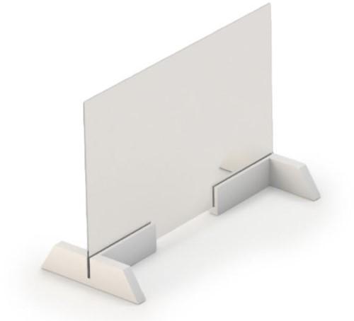 Covid preventiescherm glas 50 cm - Glasplaat en houders voor op tafels en bureaus