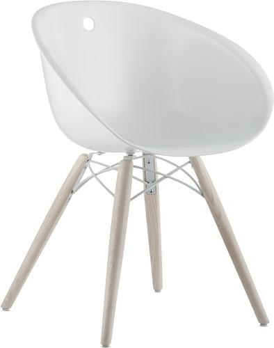 Gliss 904/ 905 - kunststof kuipstoel met houten poten. FSC 100% gecertificeerd