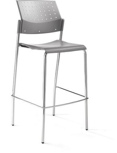 H30 - Budget barkruk, kunststof rug en zitting, frame chroom, stapelbaar-1