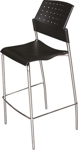 H30 - Budget barkruk, kunststof rug en zitting, frame chroom, stapelbaar