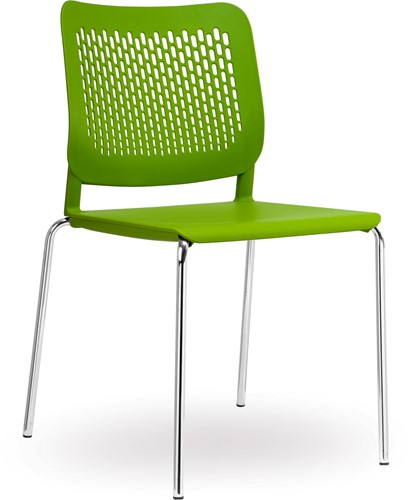 S490 - stapelbare kunststof kantine stoel met geperforeerde rug
