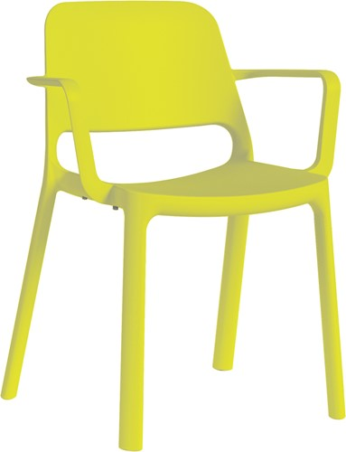 Kasper armstoel - kunststof school/ kantine stoel - Geel (GI)