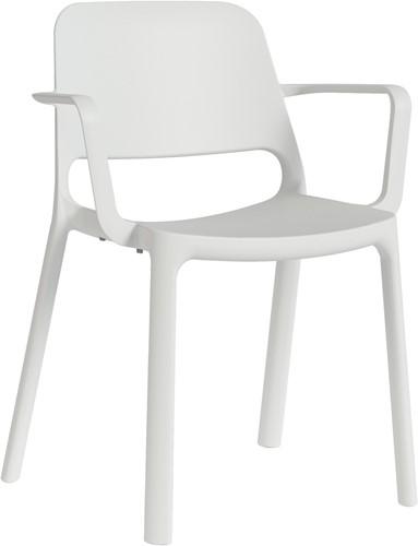 Kasper armstoel - kunststof school/ kantine stoel - Wit (BI)