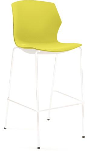 No-Frill kruk - kruk met kunststof zitting, frame wit, kunststof geel, stapelplaat zilver