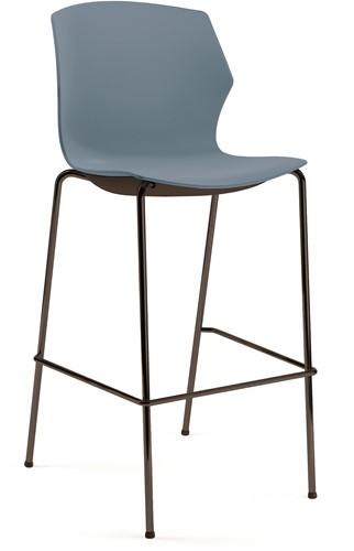 No-Frill kruk - kruk met kunststof zitting, frame antraciet, kunststof blauw grijs, stapelplaat zilver