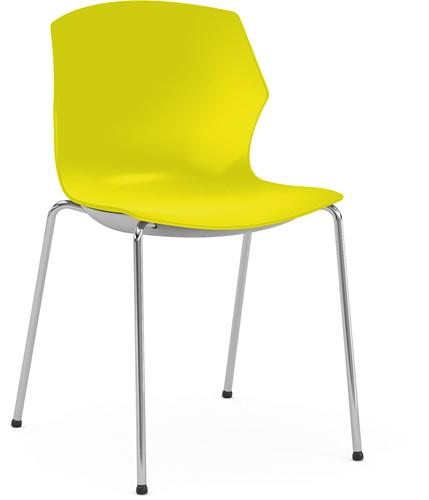 No-Frill - kunststof kantine stoel, frame wit, kunststof geel, stapelplaat zilver