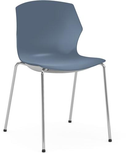 No-Frill - kunststof kantine stoel, frame antraciet, kunststof blauw grijs, stapelplaat zilver