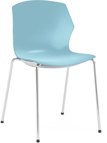 No-Frill - kunststof kantine stoel, frame wit, kunststof blauw, stapelplaat zilver