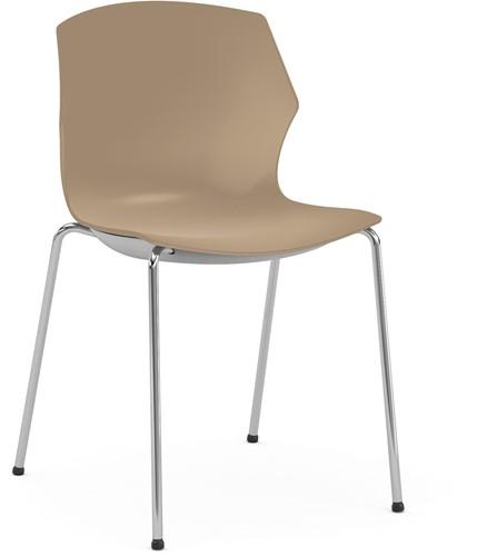 No-Frill - kunststof kantine stoel, frame chroom, kunststof zand, stapelplaat zilver