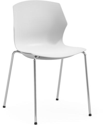 No-Frill - kunststof kantine stoel, frame chroom, kunststof wit, stapelplaat wit