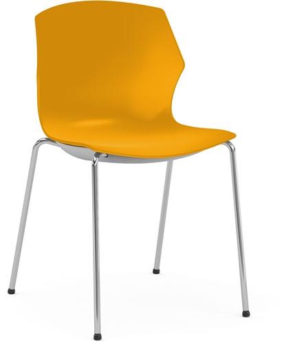No-Frill - kunststof kantine stoel, frame wit, kunststof oranje, stapelplaat zilver