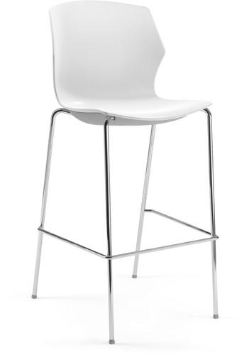 No-Frill kruk - kruk met kunststof zitting, frame antraciet, kunststof wit, stapelplaat wit