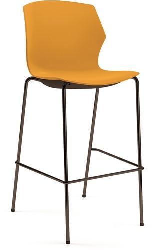 No-Frill kruk - kruk met kunststof zitting, frame antraciet, kunststof oranje, stapelplaat zilver