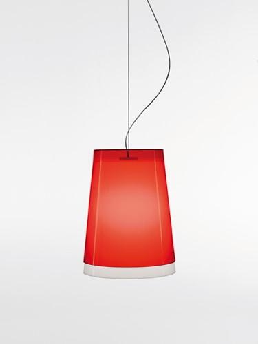 L001S/AA - hanglamp met 2 smalle kunststof kappen over elkaar