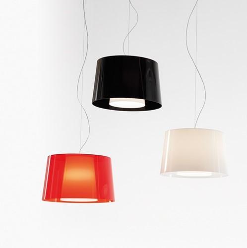 L001S/BA - hanglamp met een smalle en een brede kunststof kap over elkaar