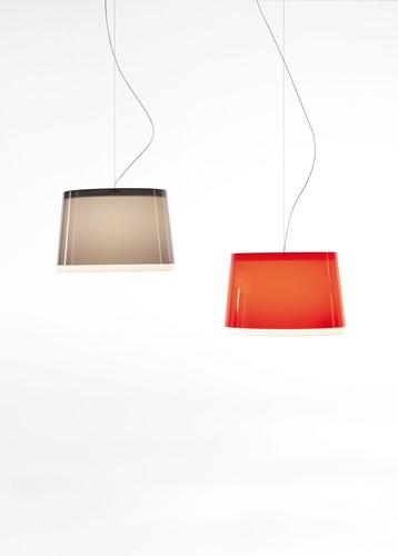 L001S/BB - hanglamp met 2 brede kunststof kappen over elkaar-2