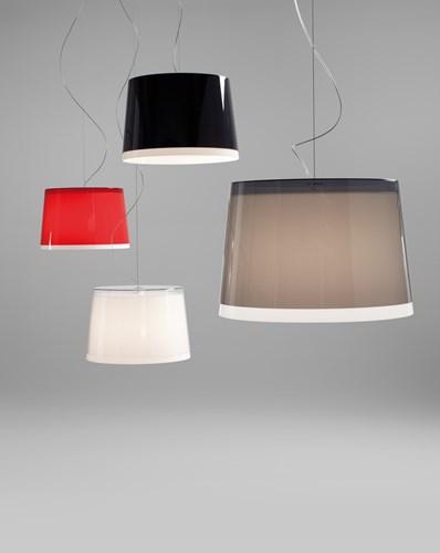 L001S/BB - hanglamp met 2 brede kunststof kappen over elkaar