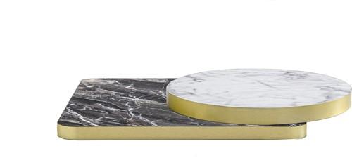 Tafelblad rond, 20 mm dik - melamine met marmerlook