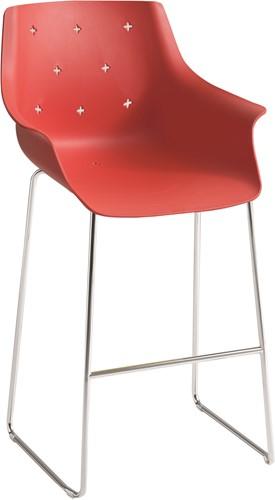 Less kruk - kruk met kunststof kuip voorzien van uitsparingen (kruisjes) in de zitschaal