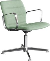 Butterfly Lounge Swivel - Magnus Olesen loungestoel met armleggers, frame alu gepolijst, zitschaal volledig gestoffeerd