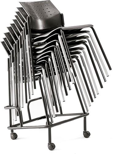 A40 Kunststof Armstoel - Budgetstoel met armleggers rug en zitting kunststof, frame chroom