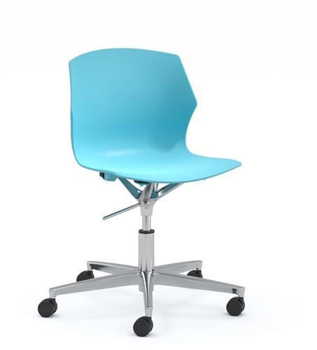 No-Frill SW wi- kunststof stoel in hoogte verstelbaar op wielen, frame chroom, kunststof blauw grijs