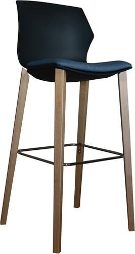 No-Frill Wood kruk- kunststof kruk met stevig houten frame-3
