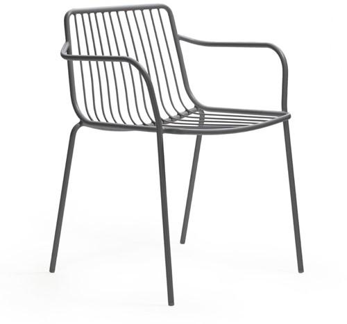 Nolita 3655 - stalen terras armstoel, kantine stoel met armleggers