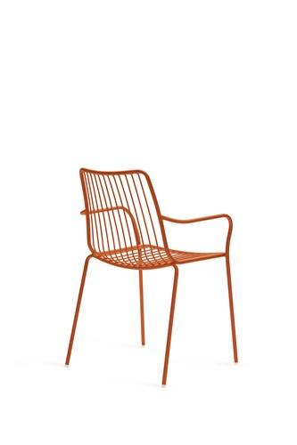 Nolita 3656 - stalen terrasstoel, kantine stoel met armleggers, hoge rug-3