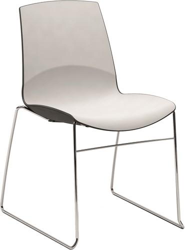 Now-Slede - kunststof duo kleur school- / kantine stoel met sledeframe