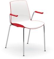 Now Arms - kunststof duo kleur school- / kantine stoel met armleggers