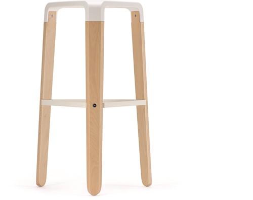 Picapau H76 - houten design kruk met kunststof zitting-2