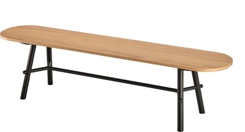 Record Bench Wood - 4 poots bankje met houten poten, langwerpige zitting en metalen dwarsstang