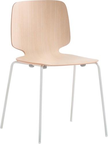 Babila 2710 - houten stoel met metalen vierpoot frame. FSC 100% gecertificeerd