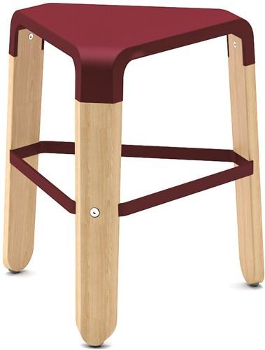 Picapau H47 - houten design kruk met kunststof zitting