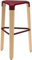 Picapau H76 - houten design kruk met kunststof zitting