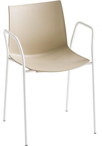 Point Arms - kunststof stoel met armleggers - CHROOM (CR) - ZWART (NE)