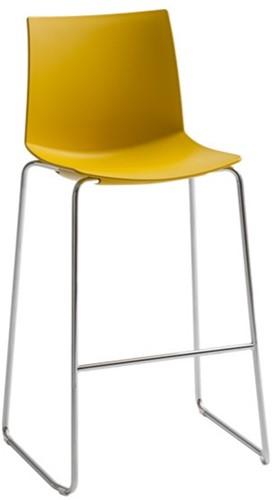 Point Kruk - kruk met comfortabele kunststof zitting  - CHROOM (CR) - GEEL (GI) 36