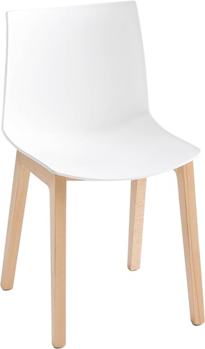 Point Wood - kunststof stoel met houten poten - GROEN (VE) 51