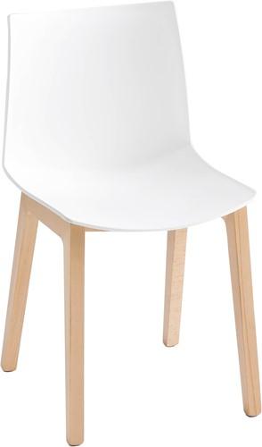 Point Wood - kunststof stoel met houten poten - ROOD (RO) 06