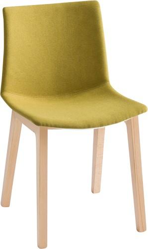 Point Wood Front - kunststof stoel met gestoffeerde zitting met houten poten - Glenalmond CUZ62 - Camira - Blazer - BEUKEN (FA) - GRIJS (GC 14)