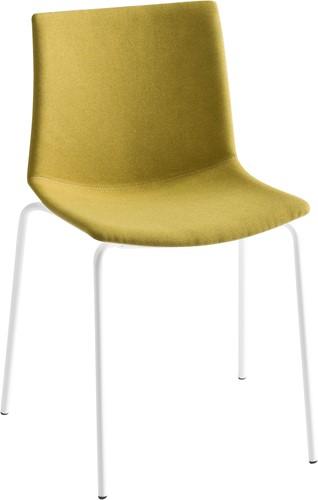 Point Front - kunststof stoel met gestoffeerde zitting  - CHROOM (CR) - WIT (BI) 00 - Camira - Blazer - Newcastle CUZ1W