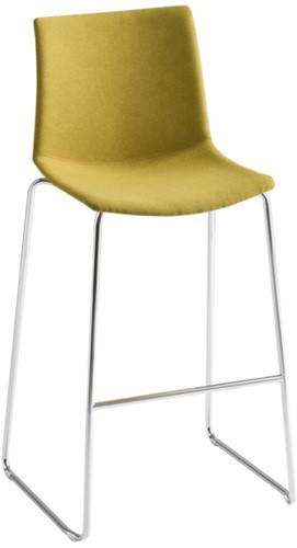 Point Kruk Front - kunststof kruk met gestoffeerde zitting  - CHROOM (CR) - WIT (BI) 00 - Kvadrat - Steelcut 2 - 110