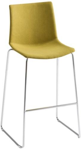 Point Kruk Front - kunststof kruk met gestoffeerde zitting  - CHROOM (CR) - ZWART (NE) 10 - Kvadrat - Steelcut 2 - 365
