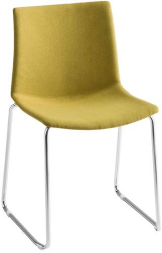 Point Slede Front - kunststof stoel met gestoffeerde zitting en sledeframe