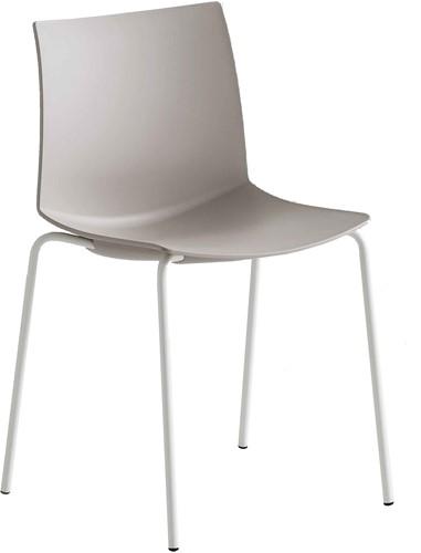 Point 4-poot - Stapelbare kunststof stoel - WIT (BI) - LICHT BRUIN (LB) 52