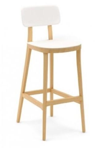 Porta Venezia kruk - houten keuken / school kruk met kunststof zitting en rug