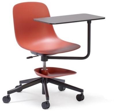 Pure Loop Mono Student - verrijdbare stoel met schrijftafeltje met een soft touch kunststof zitschaal