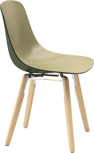 Pure Loop Binuance Wood - 2 kleurige kunststof stoel met houten poten